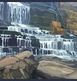 painted stone wall with a multistage waterfall vector image