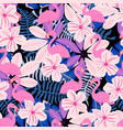 pink leaves and flamingo pattern vector image vector image
