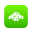 pizza label with ribbon icon digital green vector image vector image