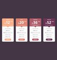 pricing table template for web design and business vector image vector image