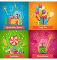 Pyrotechnics Festival Flat 2x2 Icons Set vector image vector image