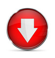 red down button with white arrow shiny 3d icon