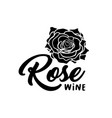 rose wine silhouette black vector image