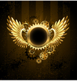 round banner with Steampunk wings vector image vector image