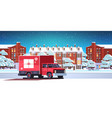 santa claus driving delivery van with gift box vector image vector image