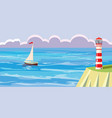 seascape sailboatlighthouse vector image