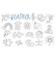 set of hand drawn icons for mobile weather vector image vector image