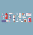 set of medical tools and medicines isolated on vector image