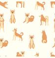 shiba inu dog seamless pattern - cute cartoon vector image