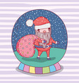 snowing glass ball with santa claus and bag vector image