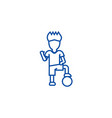 soccer player boy line icon concept soccer player vector image