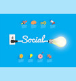 social concept with creative light bulb idea vector image vector image