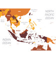 southeast asia map - brown orange hue colored on vector image vector image