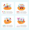 summer fun fair poster banner amusement park vector image vector image