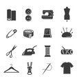 tailoring tools black and white glyph icons set vector image vector image