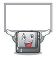 up board button j installed on cartoon computer vector image vector image