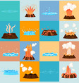 volcano eruption and water discharge by geyser vector image vector image