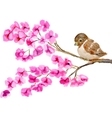 watercolor painting of bird on branch with vector image vector image