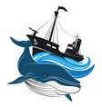 whaler and blue whale vector image