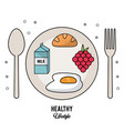 white background of healthy lifestyle with cutlery vector image vector image