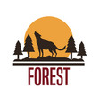 white background with logo forest with wolf vector image vector image