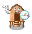with clock chiken coop isolated on a mascot vector image vector image
