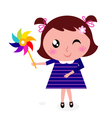 child with colorful windmill vector image