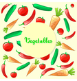 Colorful ripe fresh vegetables pattern background vector image