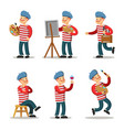 artist cartoon character set painter with palette vector image