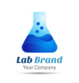 Chemical with conical bulb glass flask and bubbles vector image