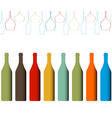alcoholic bottles background vector image vector image