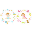 baby boy and girl surrounded with object it needs vector image