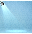Blue floodlight on ornate background vector image