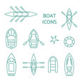 boat icons outline set vector image
