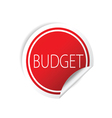 budget sticker red vector image