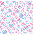 butcher shop seamless pattern with thin line icons vector image