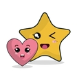 cartoon heart star technology digital design vector image