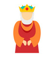 christian king icon flat style vector image vector image