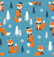 christmas seamless pattern with warm fox vector image vector image