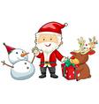 Christmas theme with Santa and snowman vector image vector image