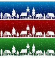 Christmas village with church seamless pattern vector image vector image
