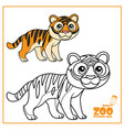 cute cartoon little striped tiger color and vector image