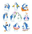 cute shark cartoon mascot collection vector image