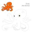 Draw the fish animal octopus educational game vector image vector image