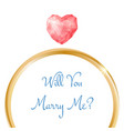 engagement card will you marry me ring vector image
