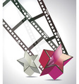 film strip with 3d glass stars vector image