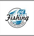 fishing logo bass fish club emblem vector image vector image