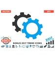 Gears Flat Icon With 2017 Bonus Trend vector image vector image