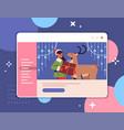 girl elf with reindeer in web browser window happy vector image vector image