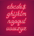 glowing red neon lowercase script font vector image vector image